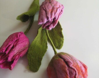 Felted tulips. home decoration, flowers, felted flowers
