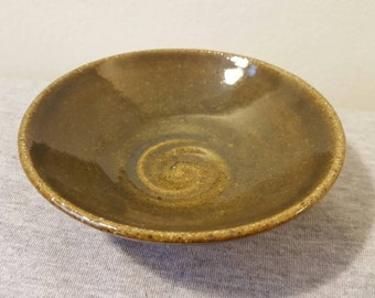 Handmade Mini-Serving Dish (Mamezara), Green-Glazed Red Stoneware