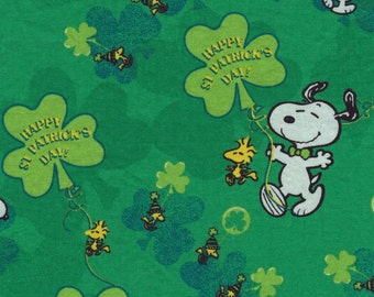 St Patrick's Day Fabric, Snoopy Fabric, 1 and 3/4 yards,  Holiday Fabric, Charlie Brown, Shamrock Fabric, Woodstock Fabric, Fabric Destash
