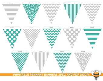 Printable turquoise and grey bunting flags party room decor, pennant garland, stripes, chevron. polka dots pattern, party decor, photo prop