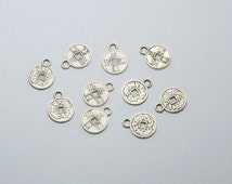 50pcs Small Ancient Chinese Lucky Coin Charms in Antique Silver, I Ching Charms, Fortune, Feng Shui, Ching Dynasty Coins #SD-S7924