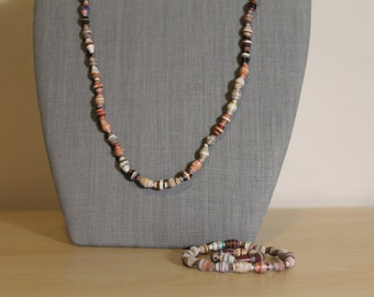 Paper Bead Necklace, Bracelet and Ring Set