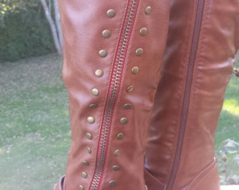 Monogrammed Ladies Studded Riding Boots, Chestnut Riding Boots Size 6 1/2