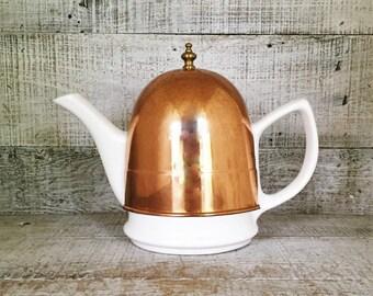 Teapot Ceramic Teapot with Copper Tea Cozy Insulated Metal Copper Cover with a Ceramic Teapot White Porcelain Tea Pot with Copper Cover