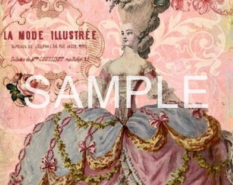 Fabric Art Quilt Block - Marie Antoinette - 12-448 FREE Shipping