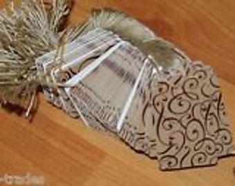 LOT 100 Scalloped COCOA Print 1 X 1 5/8 Paper Merchandise Price Tags with String