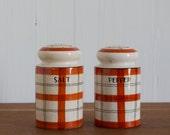 vintage 1930s Takito Art Deco plaid salt and pepper shakers / 1920s handpainted TT porcelain S & P set