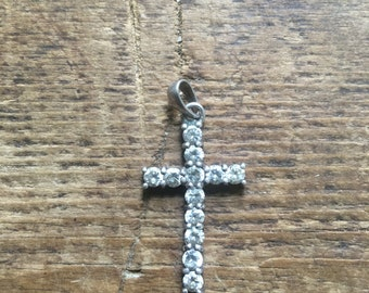 Stirling Silver cross with crystals