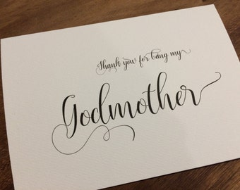 Godmother/Godfather card  for Christening/baptism/bar mitzvah