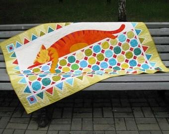 Quilt Pattern - Colourful Dreams - Applique Pattern - PDF Quilt Pattern - Cat Quilt Pattern - Baby Quilt Pattern