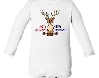 Chrismukkah Long-Sleeve Onesie for Babies, Hanukkah, Christmas, Interfaith Holidays, Ready to Ship!