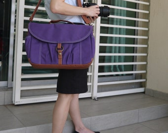 Christmas in July SALE - Koi in Purple,  Camera Bag/ Camera Messenger Bag/ dslr camera bag/ Women Camera Bag, 30% OFF