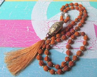 Gorgeous chain in the mala-style Buddha head, Rudraksha beads and tassel * hippie boho style