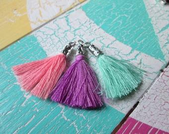 3 trailer * tassels with Cap * tassel * cotton * 35 mm * purple * Mint green * salmon