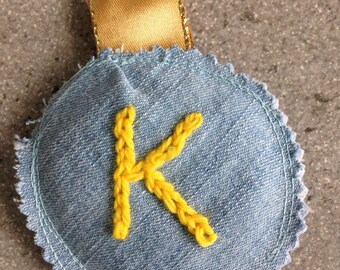 Letter K Bagtag   Initial Bag charm   Kids Bag Tag   Scrappy denim tag   Personalised Fabric Keychain   Embroidered tag   K is for keyfob