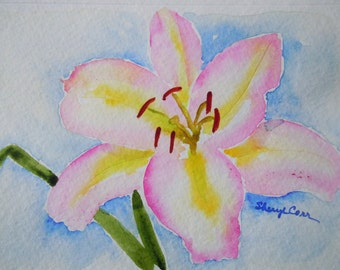 Pink Daylily Watercolor Notecard