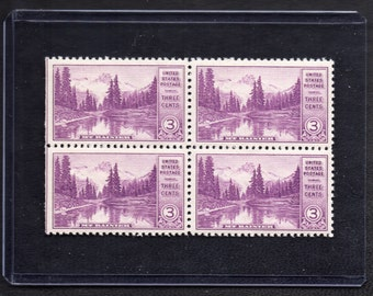 Mt. Rainier 1934 - Four Unused Three Cent Postage Stamps - Vintage Collectible
