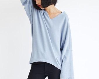 Oversized T-shirt Knitted Cotton Asymmetric Design,V Neck Long Sleeve,Cream/Light Blue