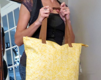 Yellow and Brown Canvas Bag