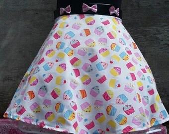 Kawaii Cupcake Print Half Circle Skirt
