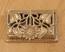 Vintage Postage Stamp Holder / inkwell / ink pot / decorative sunflower box || solid brass Victorian floral design || Writing