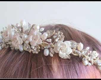 Gold ivory floral with fresh water pearls wedding tiara