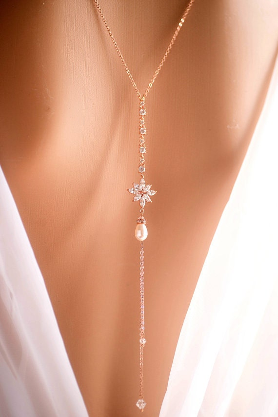Rose Gold Silver Bridal Backdrop Necklace Crystal By