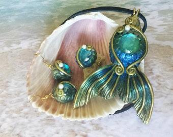 Mermaid Jewelry - Large Mermaid Necklace, Mermaid Earrings & Mermaid Ring 3 pc set