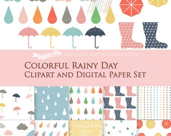 30% off Colorful Rainy Day Clip Art + Digital Paper Set / Rain Clipart / Rain Digital Paper - Instant Download