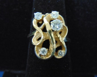 Womens Vintage Estate 14k Gold Ring w/ Diamonds 5.8g E2433