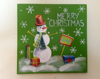 Merry Christmas Wood Sign, Snowman decor, Snowman door hanging, Christmas Wall Decor, Christmas Gift Idea