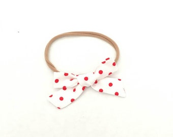 Red dot  Fabric Bow, Hand Tied Fabric Bows, Baby Girl, Toddler, Girls Fabric Bow Headband or Hair Clip
