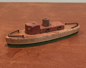 Vintage Wooden Toy Ship Tug Boat