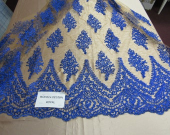 Magnificent French design bridal wedding embroider fabric mesh lace royal. Sold by yard.