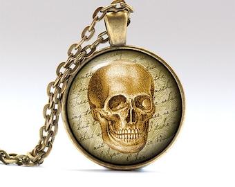 Gothic pendant Antique jewelry Skull necklace RO52