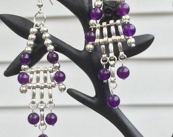 Amethyst and Tibetan silver Earrings