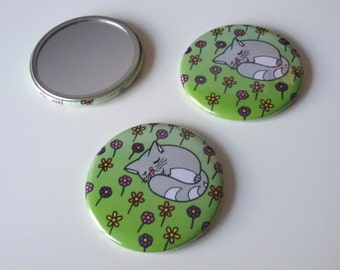 Moon the Cat flowery bed design pocket mirror. FREE UK SHIPPING