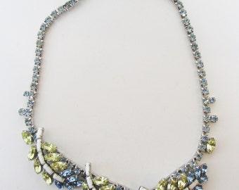 Vintage 1950s Rhodium Plated White, Citrine and Sapphire Blue Rhinestone Necklace