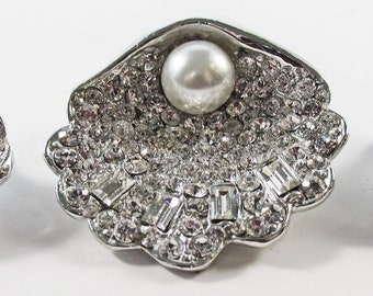 Stunning Vintage 1950s Rhodium Plated Rhinestone and Faux Pearl Seashell Pin and Earrings