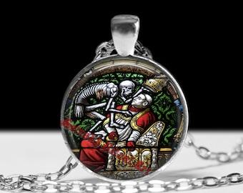 Death and Pope pendant, occult jewelry, skeleton necklace, satanic jewelry, skull accessories, memento mori jewelry #413