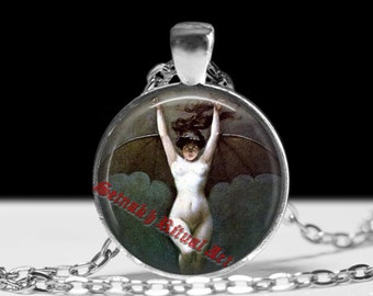Halloween jewelry, Demonic witch necklace, Succubus charm, Gothic pendant, Witchcraft pendant #256