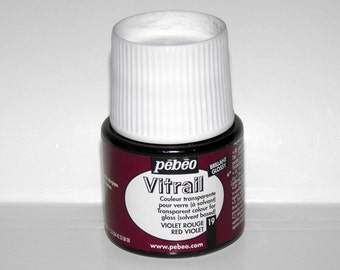 Pebeo Vitrail 19 Red violet  color Imitation of stained glass Solvent based bright luminous acrylic paint glass painting Ihappywhenyouhappy