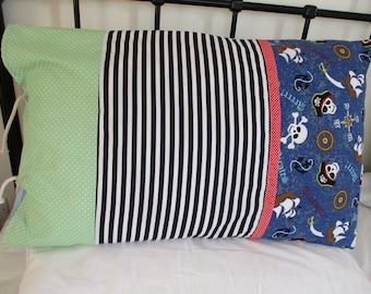 Pillowcases, Sleepover pillowcase, boys pillowcase, pirates, stripes, spots, individual, Personalised, carrycase,  handmade pillowcases