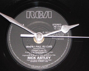 "Rick Astley when i fall in love  7"" vinyl record clock"