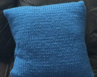 "Hand Knitted Pillow Cover, 16 x 16"", Blue Pillow Cover, Home Decor, Ready To Ship"