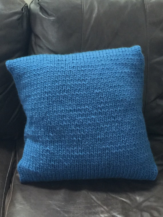 hand knitted pillow cover 16 x 16 blue pillow cover. Black Bedroom Furniture Sets. Home Design Ideas