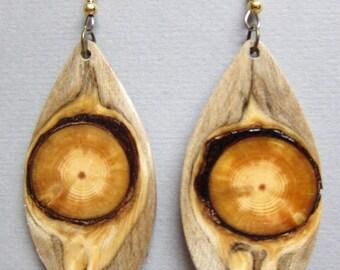 Gorgeous, Glowing Pine, drop dangle Exotic Wood Earrings, Handmade ExoticWoodJewelryAnd ecofriendly earthy