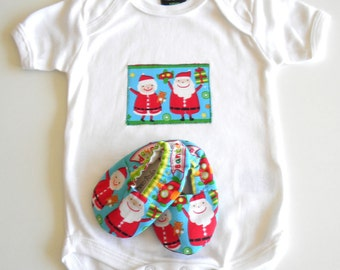 Baby Christmas Outfit Onesie Shoe Pack Clothes First Christmas Santa Elf 6-12 months
