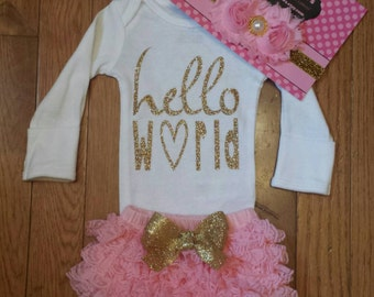 "Sale 3pc set SS 31.95 ""Hello World"" Onesie, Pink Lace Bloomers,& Headbnd Set, baby girl, newborn,hospital outfit,take home set"