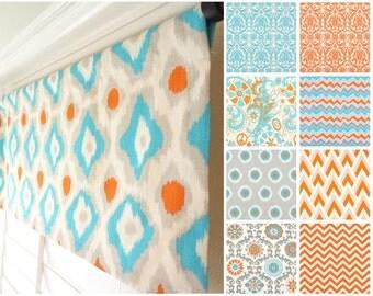 """Orange Blue Grey Window Valance.Orange Valance.Aqua Valance.Blue Damask Valance.Kitchen Valance.Grey Valance.52""""x15"""" Any Size"""
